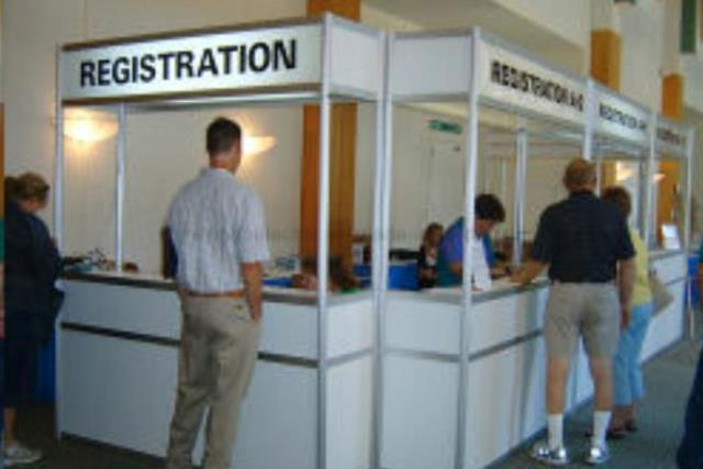 Where to find Registration Counter Unit - White, light in Fresno
