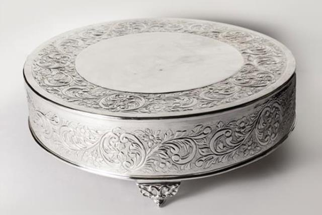 Where to find Cake Stand Plateau Round Silver 16  Diam in Fresno